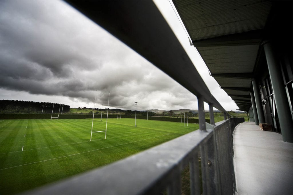 A view of the main Rugby fields from the balcony of the main block at the Massey Sport & Rugby Institute